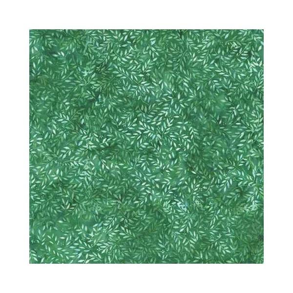 Tissu batik - Feuillage nuancé vert