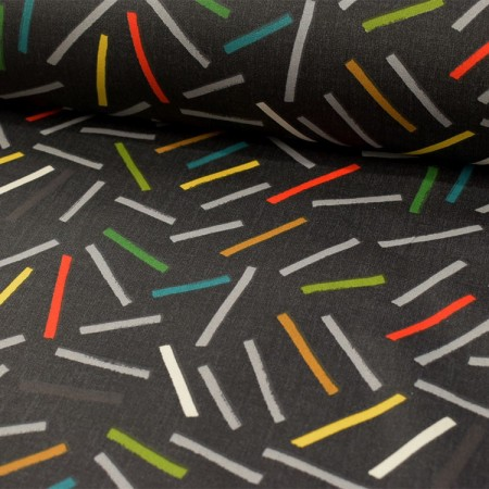 Tissu coton enduit - Frites anthracite
