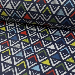 Tissu coton enduit - Triangular bleu
