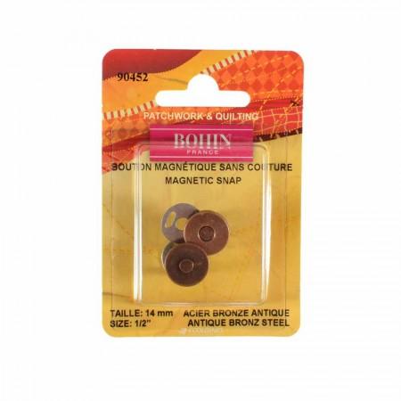 Bouton magnétique sans couture 14 mm bronze Bohin