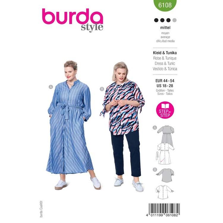 Patron Burda 6108 - Robe chemisier