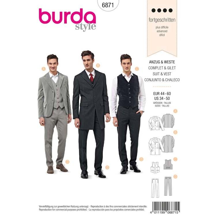 Patron Burda 6871 - Costume complet et gilet