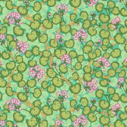 Tissu Kaffe Fassett - Climbing Geraniums Green