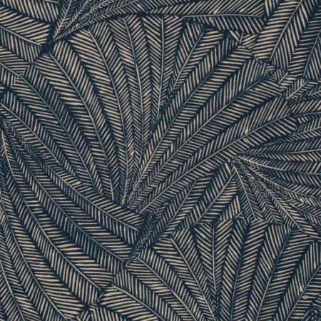Tissu d'ameublement - Kyoto sable fond bleu nuit