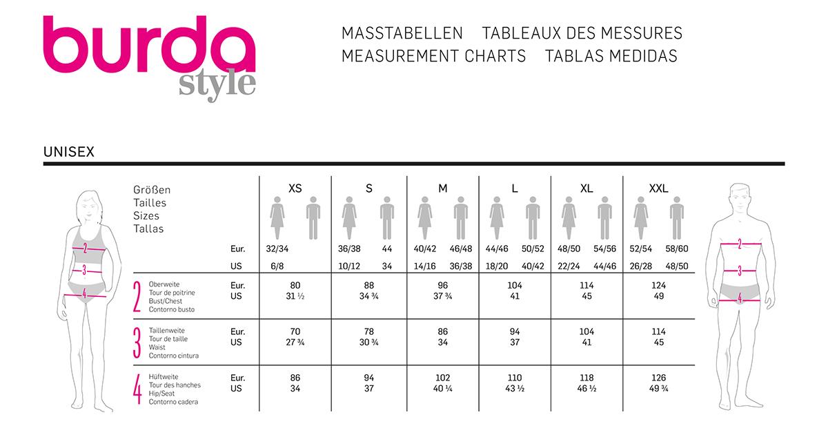 Tableaux des mesures des patrons de couture Burda Style